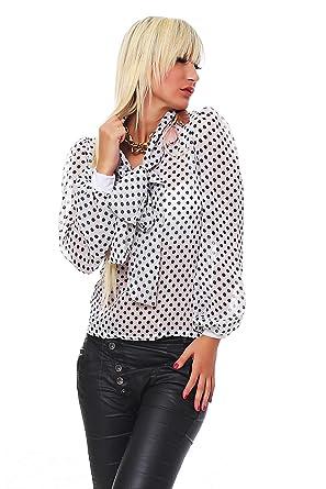 4c7449a1762311 Mississhop Japan Style Damen Chiffon Chiffon Bluse gepunktet weiß S/M:  Amazon.de: Bekleidung
