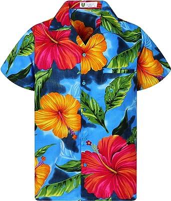 V.H.O. Funky - Camisa hawaiana para hombre, manga corta, bolsillo frontal, estampado hawaiano, gran flor, varios colores: Amazon.es: Ropa y accesorios