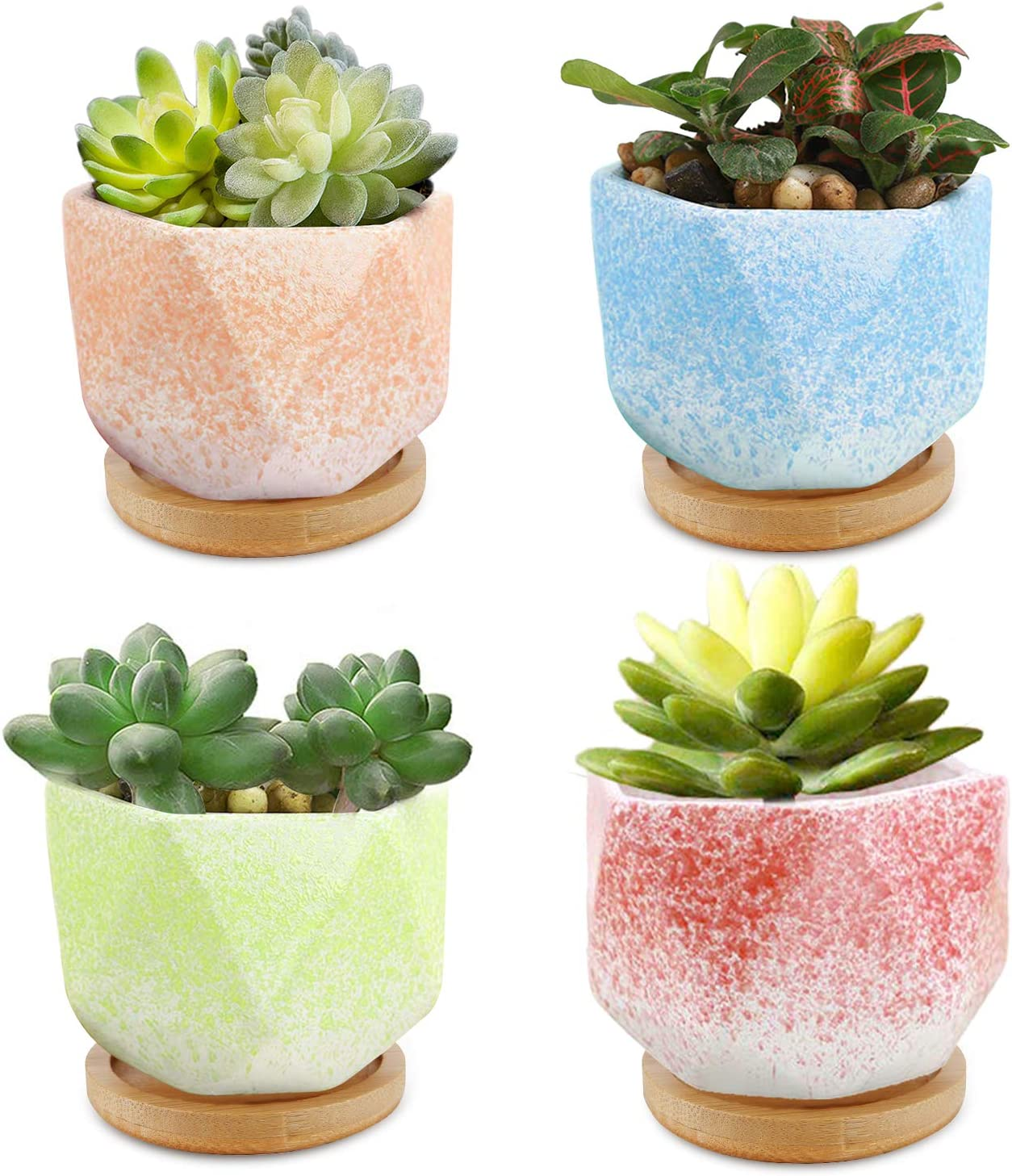 3.75 inch Succulent Pots, 4pcs Pack CONNYAM Ceramic Succulent Cactus Planter Pot with Bamboo Tray for Home and Office Decor, Birthday Wedding Christmas Gift Plants NOT Included