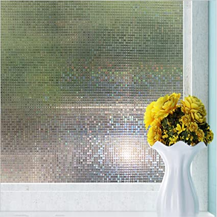 New lifetree vinyl mini mosaic non adhesive frosted privacy window film decorative window glass