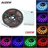 LED Strip Lights,AUDEW 5ft RGB SMD 5050 45 LED Flexible Light Strip with Battery Box Waterproof for Home Outdoor Lighting Craft Hobby Light Decoration 10.8W 150 cm