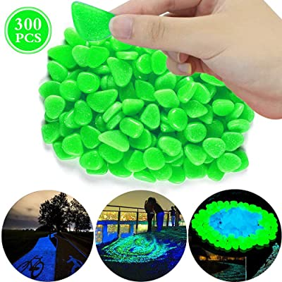 Green Glow Stones, 300PCS Luminous Stones Glow in The Dark, Glow Pebble for Garden Walkway and Decor, Perfect Decor for Fish Tank and Vase - Green: Home & Kitchen