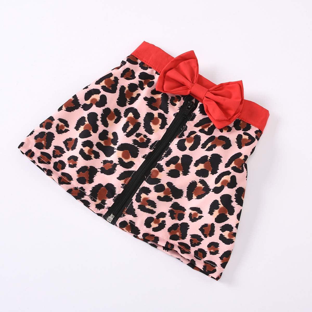 Carolilly 2 Pezzi Completo Bambina Neonata Maglietta Nera a Maniche Lunghe Gonna Corta con Zip Stampa Leopardo alla Moda