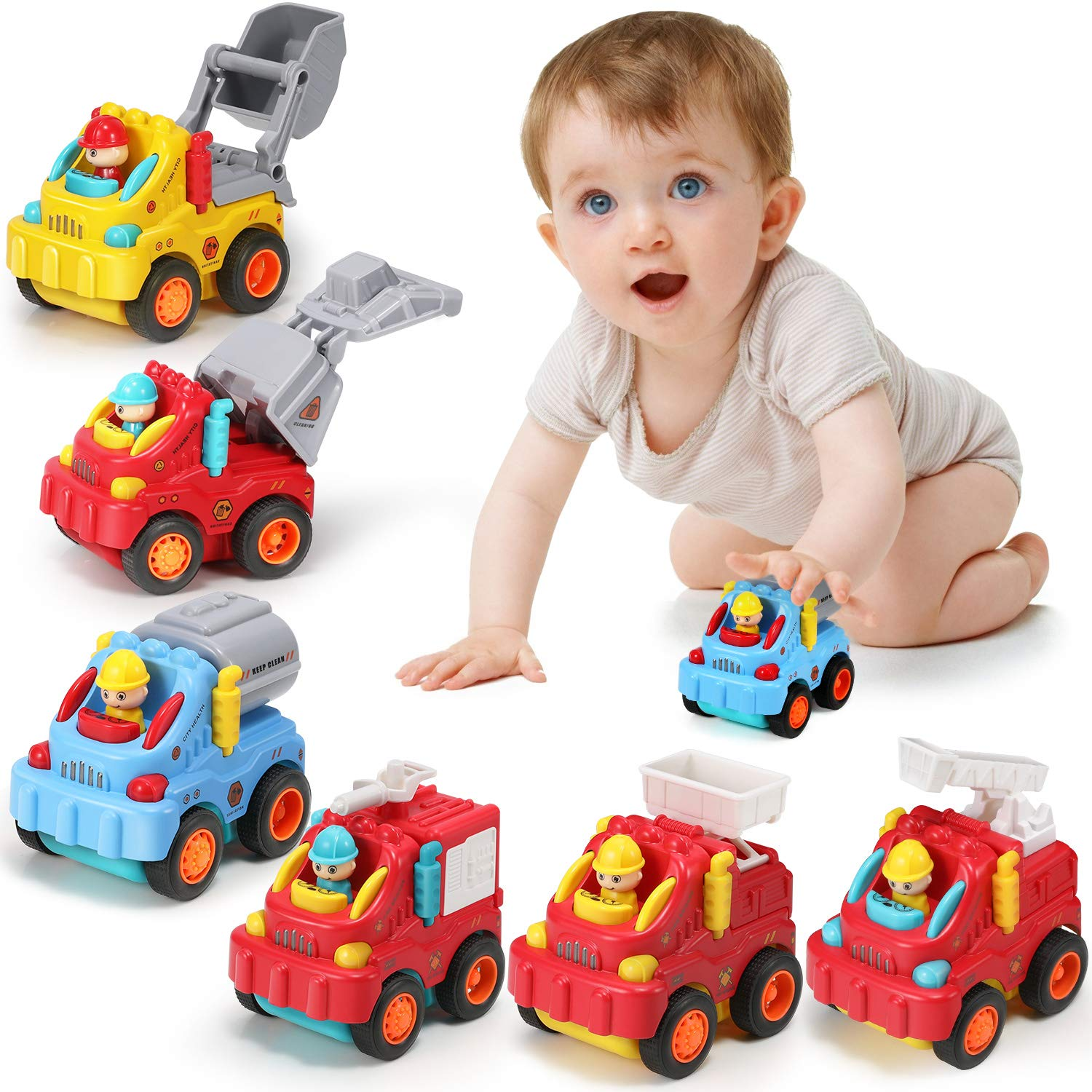 Pull Back Cars Mini Alloy Helicopter Boat Toy Play Set Metal Die Cast Vehicle for Babies,Boys,Toddlers and Kids Party Favors Age 1+ Geyiie Cartoon Cars Toy 6 Pack