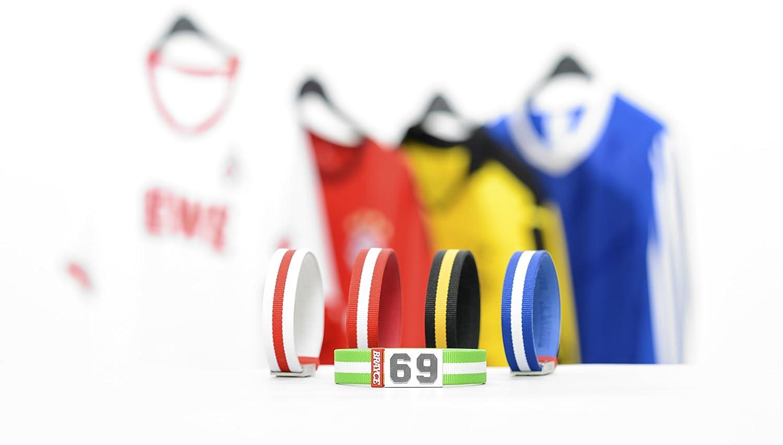 Pulsera de BRAYCE con tu número del 00 al 99 (número de camiseta, número del jugador, número de la suerte) en los colores del club: una joya para aficionados y clubs (fútbol, balonmano, baloncesto, hockey sobre hielo)
