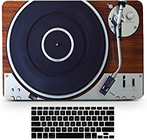 Bizcustom MacBook Pro15 Touch ID 2016/2017/2018 Vintage Wood Music Player Design Paint Hard Rubberized Case and Black Keyboard Cover for MacBook Pro 15 Touchbar Retina Display Model A1707 A1990