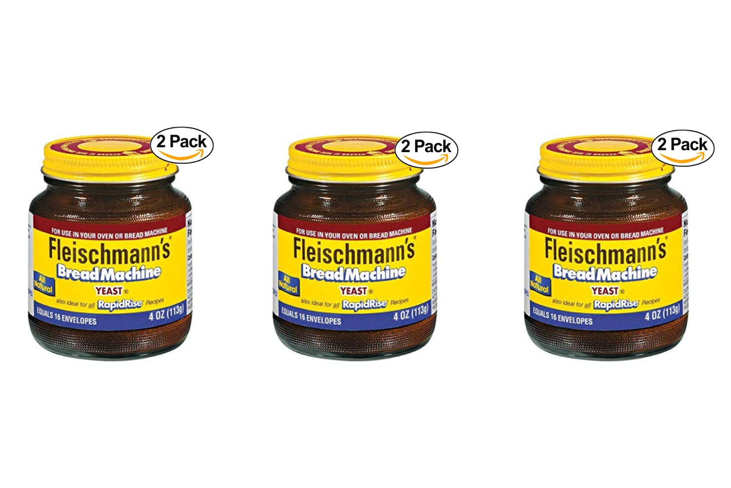 Fleischmann's Bread Machine Yeast, Also Ideal for All Rapid Rise Recipes, Equals 16 Envelopes, 113 Grams Jar (Pack of 2) (3 Pack) by ACH FOOD COMPANIES INC (Image #1)