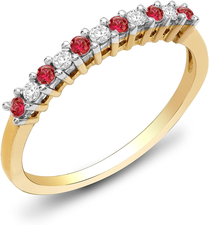 Jewelco Europa Señoras Oro Amarillo 9k 0.25ct Diamante Rubi eternidad anillo