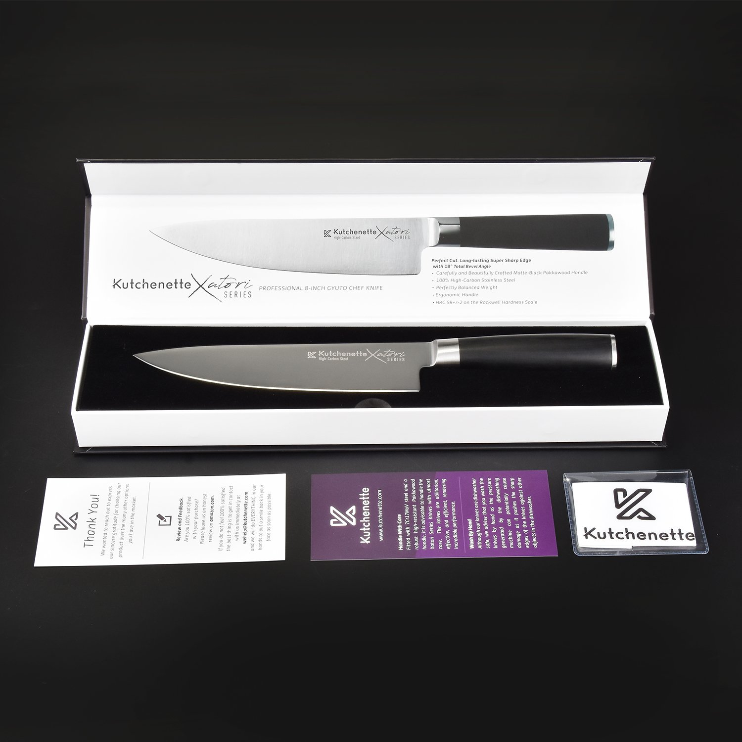 Sedge Chef Knife 8 Inch Professional Kitchen Knife Japanese High Carbon Stainless Steel With Black Pakkawood Handle With Case - Xatori Series by SEDGE (Image #3)