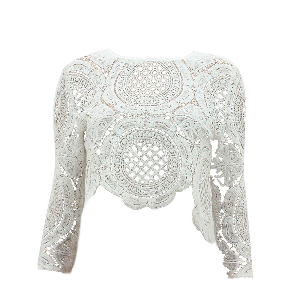 939b0c697e81c2 Soly Tech ROPALIA Sexy Women Lace Hollow Crop Tops Long Sleeve Blouse Shirts  Zipper