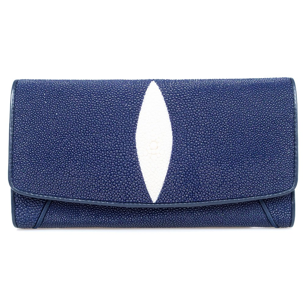 Genuine Stingray Leather Snap Trifold Coin Zip ID Wallet Organizer Clutch Purse by Kanthima
