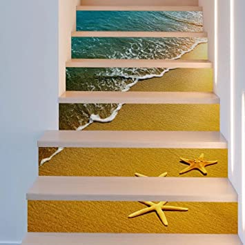 Frolahouse 3d Treppe Aufkleber Seestern Strand Diy Renovierung
