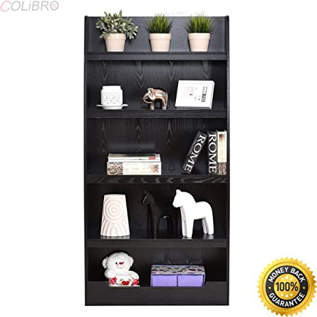 COLIBROX--5 Layers Bookcases Bookshelf Shelves Storage Display Home Office Furniture Black Tier Ladder