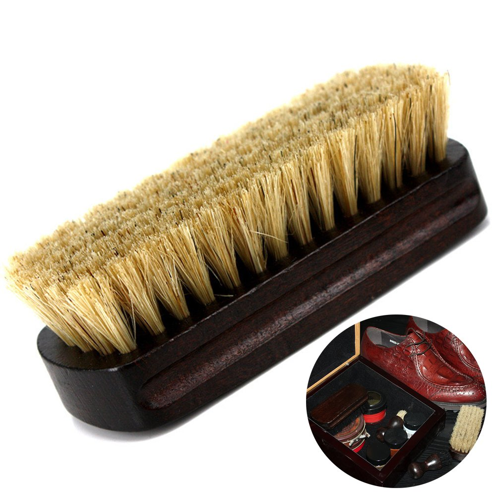 Boot Brush Cleaner Shine Shoe Pig Bristles Brush with Wood handle Tinksky Cleaning Brush (Beige)