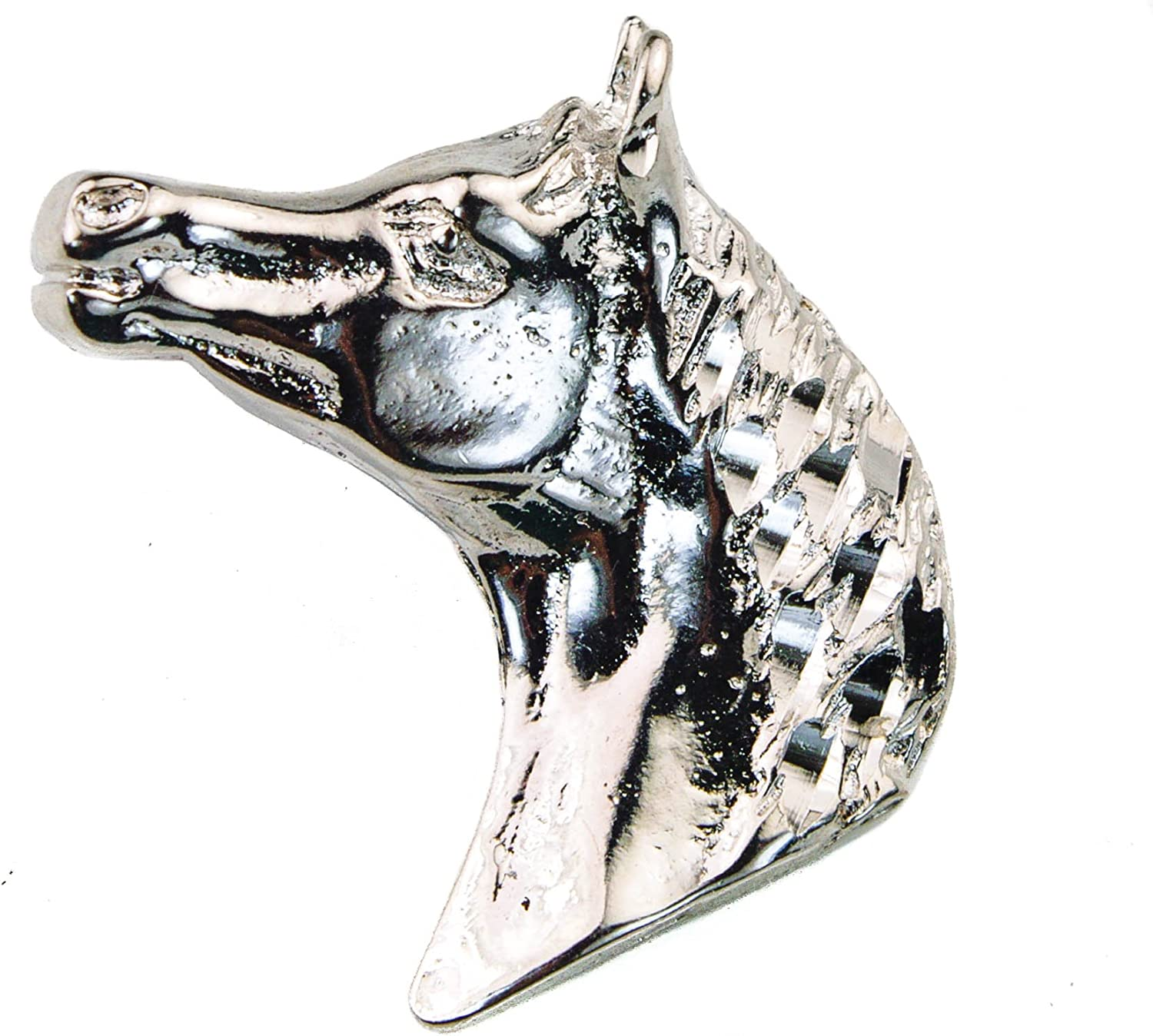 Sujak Military Items Horse Pendant Charm with French Rope Chain Rhodium Overlay F1D3E