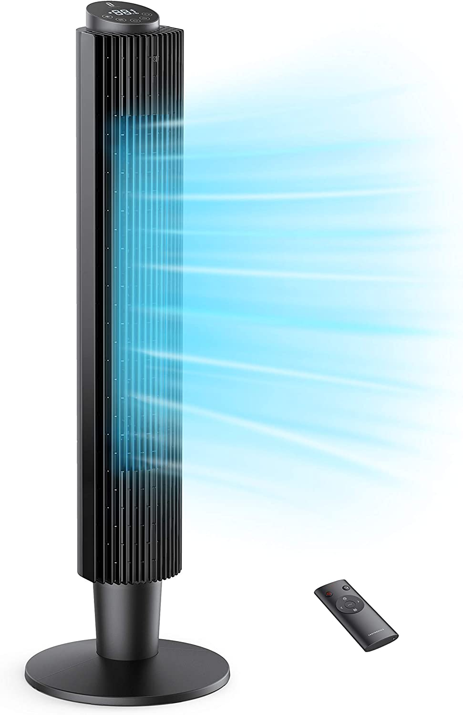 TaoTronics Ventilador de torre oscilante de 90°, 106 cm, 35 dB, silencioso, con mando a distancia, temporizador de 12 horas, 5 velocidades, 3 modos de viento