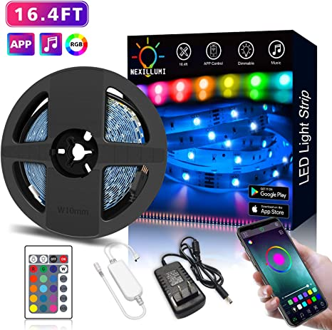 Nexillumi Led Strip Lights With Remote App Control Color Changing Rope Lights 16 4ft Smd 5050 Rgb Light Strips With Ir Remote Sync To Music For Tv