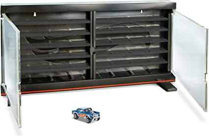 Hot Wheels Display Case Toy Storage with 83 Chevy Silverado 1:64 scale vehicle
