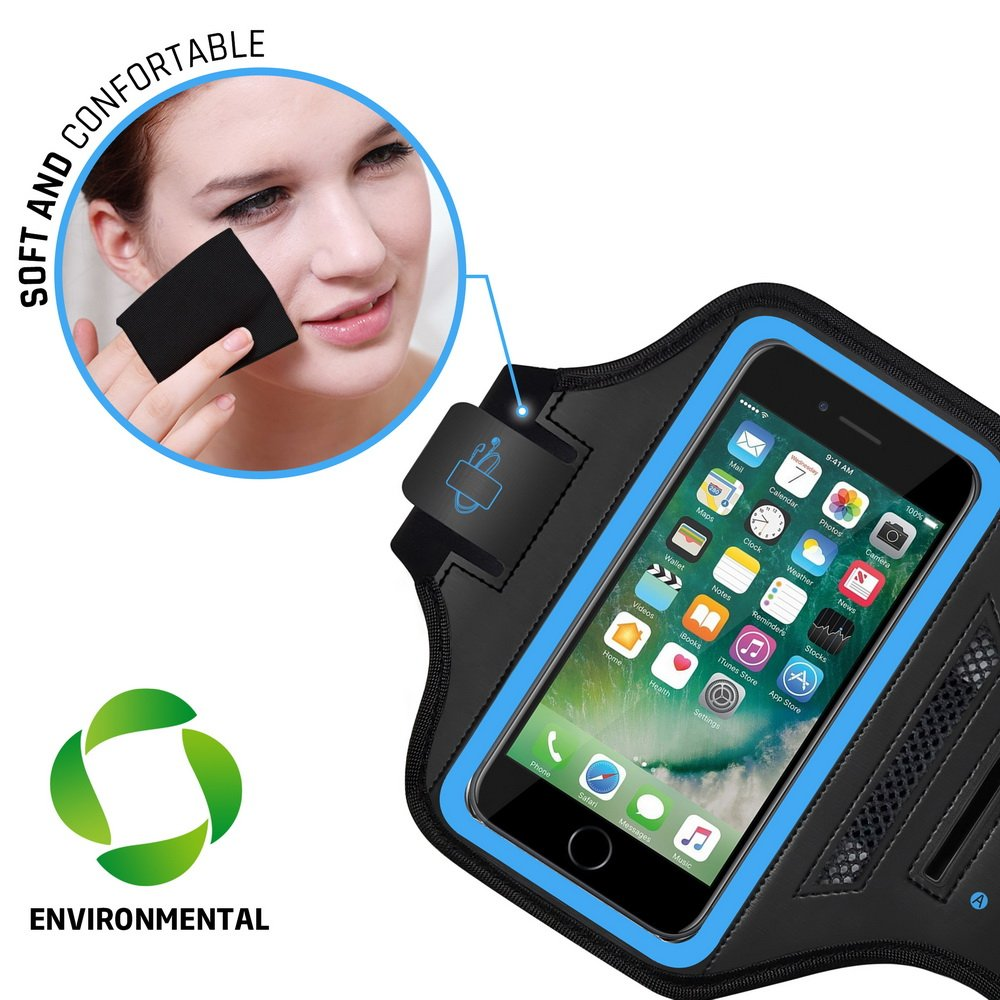 LOVPHONE Man/Women Running Sport Armband for iPhone 7/8 Plus Suitable for Gym Workout w/Kickstand Key Bag Earbuds Holder Card Slot Case, Water Resistant (Blue)