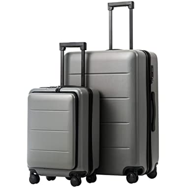 COOLIFE Luggage Suitcase Piece Set Carry On ABS+PC Spinner Trolley with Laptop pocket (Titanium gray, 2-piece Set)