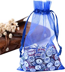 PH PandaHall 100PCS 4x6 Inches Blue Organza Gift Bags with Drawstring Candy Bags Jewelry Pouches for Baby Shower, Wedding, Birthday, Party, Christmas