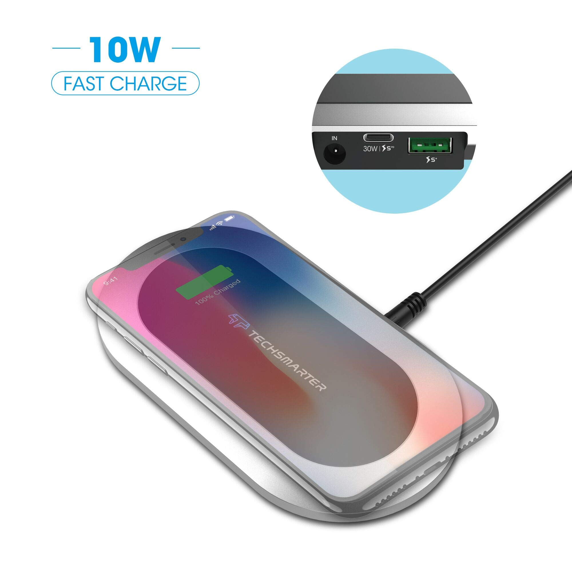 Techsmarter 3-in-1 Wireless Charging Station, for USB-C Devices, Smartphone, Samsung, LG, HTC, iPhone, iPad Multiple Phones Devices with TS+ USB Port, 30W Power Delivery Ports & Wireless Charging Pad