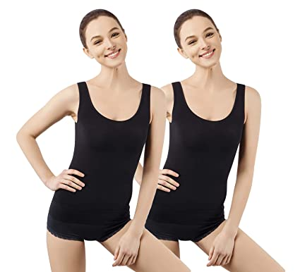 60b4ea1ea MD Shapewear Womens Tank Tops Body Shaper Camisole for Tummy Waist and Hips  Medium Blackx2