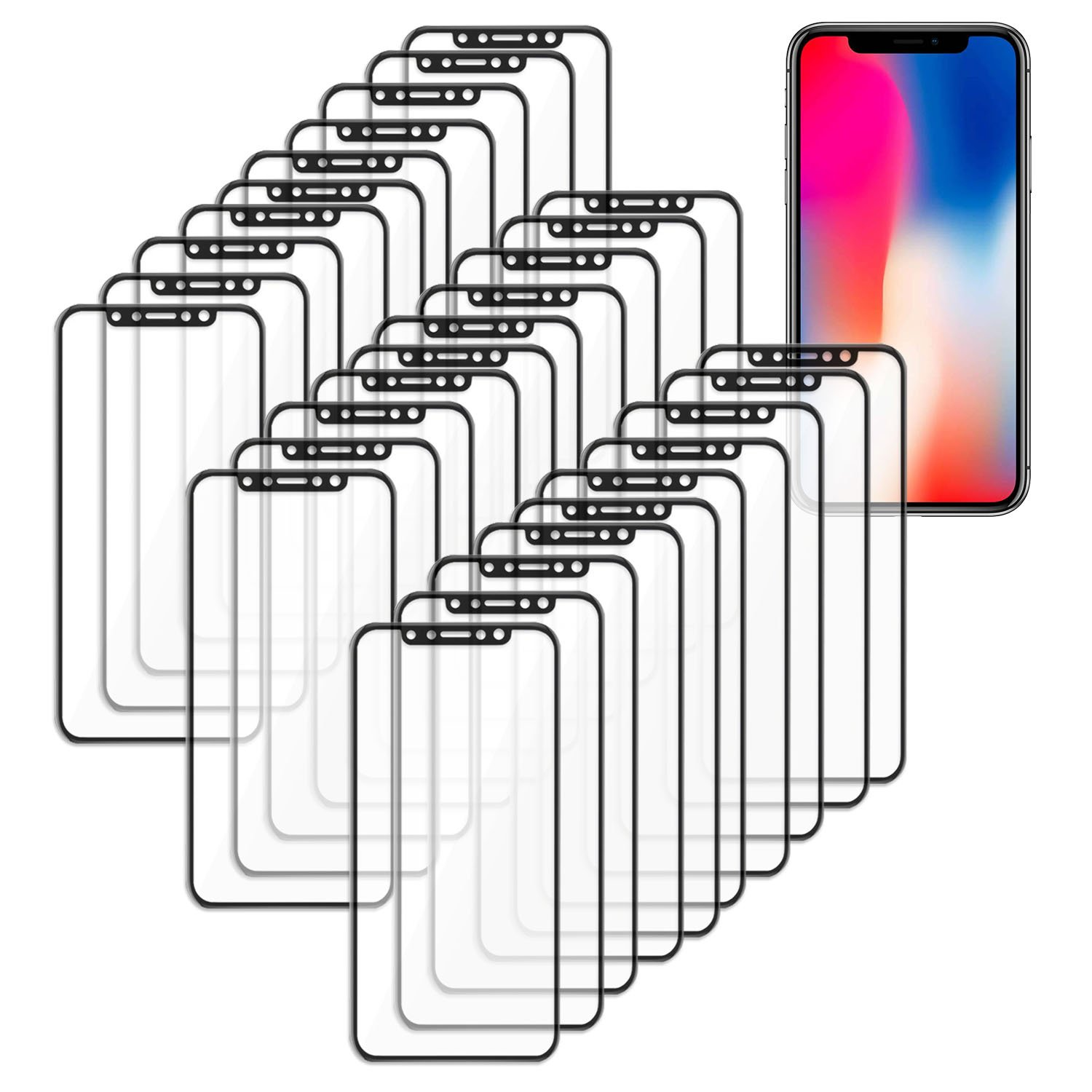 [30 Pack] SOJITEK iPhone X Black Color Screen Protector, 3D Ballistic Tempered Glass Full Curved Edge Screen Cover with Liftime Replacement Warranty- HD High Definition, Scratch-Resistant, Anti-Smudge