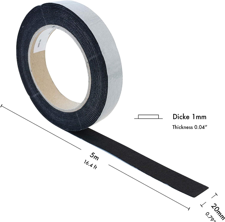 Bande de feutre auto-adh/ésif Soft haggiy Patins pour meubles Longueur: 5m Largeur: 18 mm 1,0 mm d/épaisseur blanc