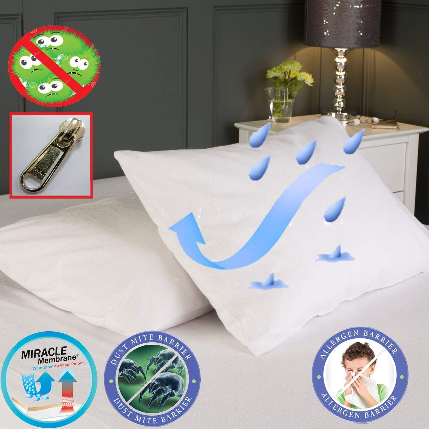 AntiAllergy Hyporallergenic Mattress Encasement Waterproof Cover Bacteria Dust Mites Protector All Uk Sizes (Bed Bug Cover, Small Double) Bedding Care Uk