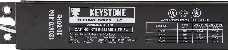 5 Keystone Two Lamp T8 Instant Start Electronic Ballast KTEB-232RIS-1-TP-SL