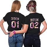 Couples Shop Best Friends T-Shirt Sisters Passende Kurzarm Shirt für Damen mit Lustige Aufdruck Bitch Sommer Tops 1 Stück