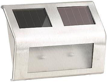Lunartec – Luces de exterior: Solar – Lámpara de pared para exteriores, acero inoxidable