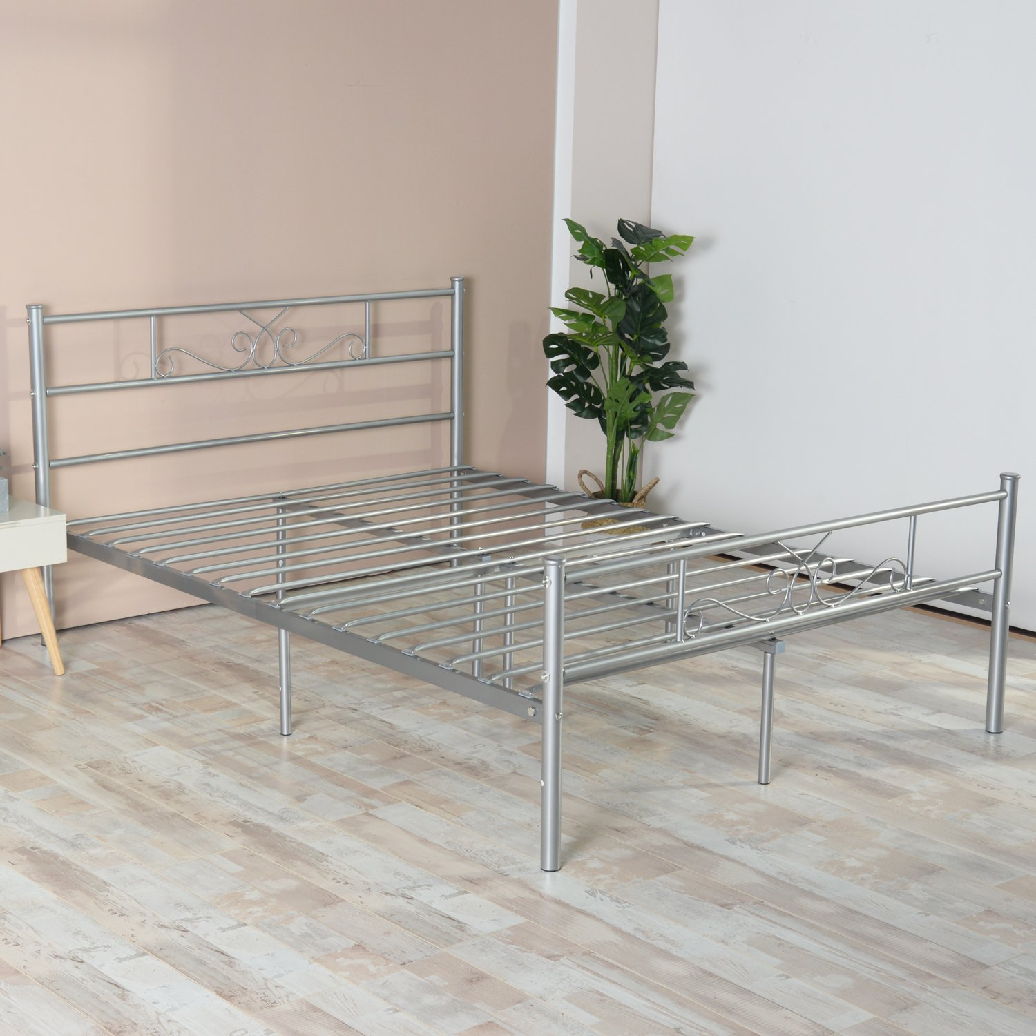 SimLife Steel Platform Box Spring Replacement (Full, Silver) Stable Metal Bed Frame 10 Legs Two Headboards Mattress Foundation by SimLife