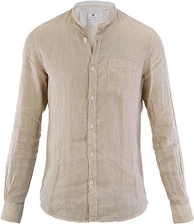 Camisa Cuello Alto B-Style Hombre beige L: Amazon.es: Ropa