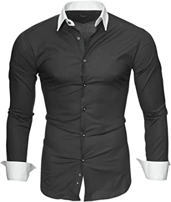 Kayhan Camisas Hombres Camisa Hombre Manga Larga Ropa Camisas de Vestir Slim fácil de Hierro Fit S M L XL XXL-6X - Modello Mailand