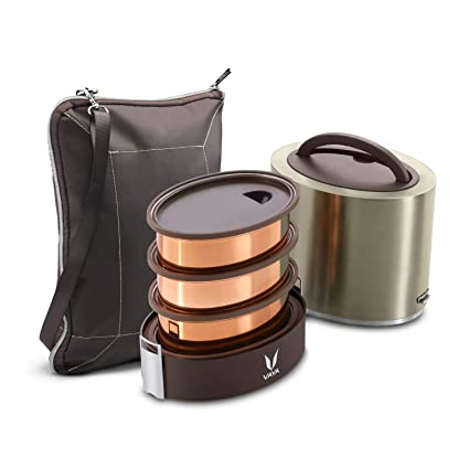 f327ae26189 Buy Vaya Tyffyn Graphite Copper-Finished Stainless Steel Lunch Box with  Bagmat