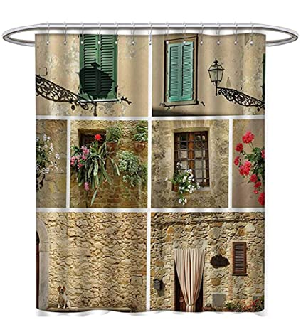 Italian Shower Curtains Fabric Extra Long Pictures Lifestyle Old Classic Shutter Window Stone Houses Print