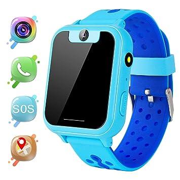 MeritSoar Tech GPS Niños Smartwatch Phone - Tracker Watch Relojes para Niños con Contador de Pasos Geo Fence Cámara SOS Linterna Chat de Voz Juego ...