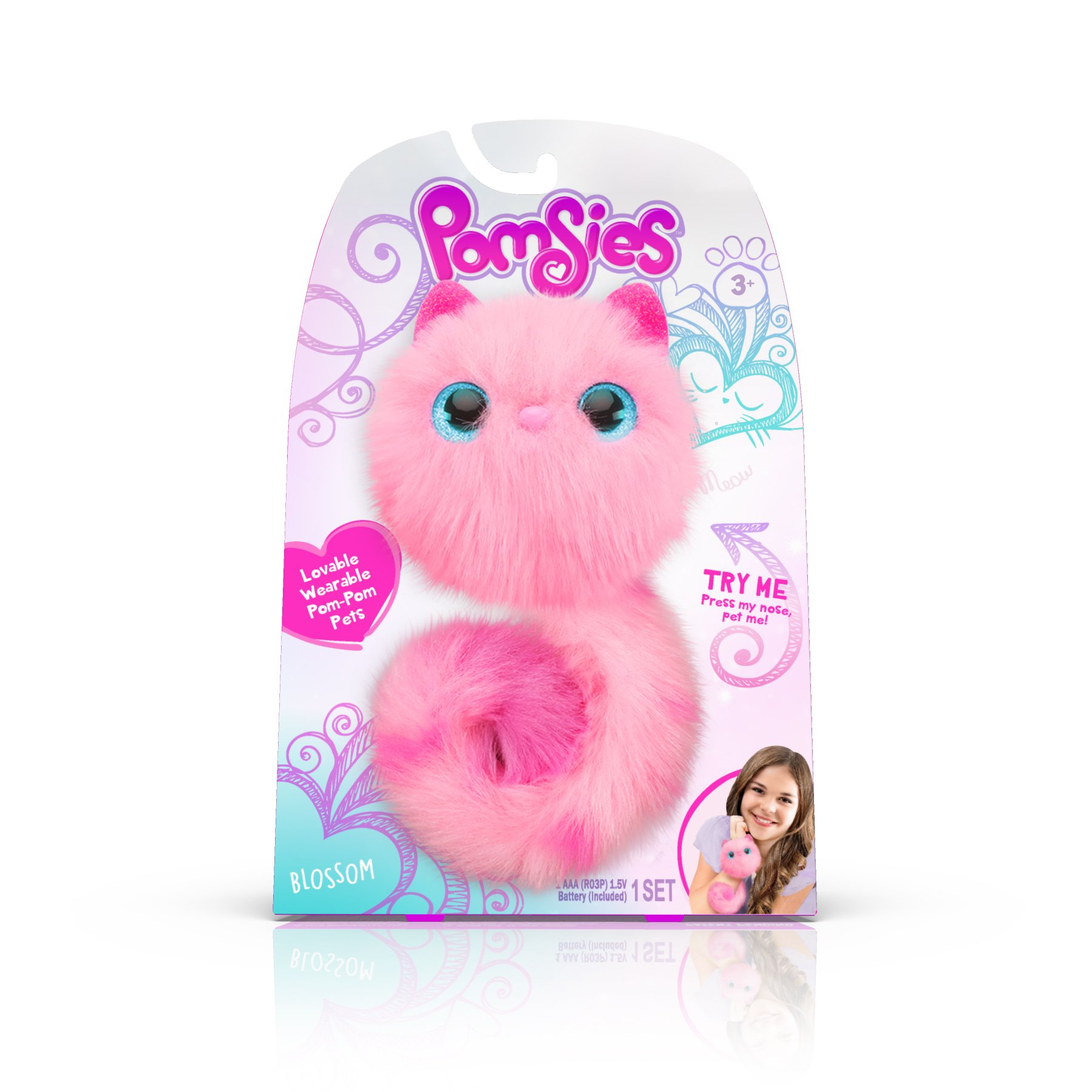 Pomsies Blossom Plush Interactive Toys, Pink