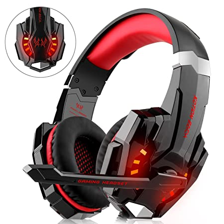 Gaming Headset für PS4 Xbox One PC, DIZA100 Gaming Kopfhörer mit Mikrofon, LED Light Bass Surround?Aluminiumgehäuse für Compu