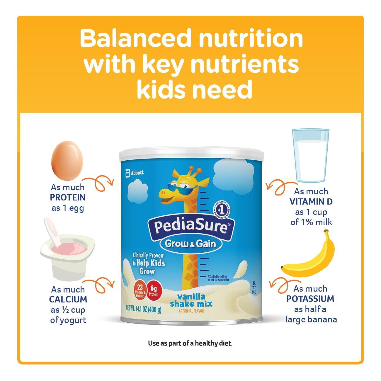 PediaSure Grow & Gain Non-GMO Vanilla Shake Mix Powder, Nutrition Shake for Kids, 14.1 oz, 3 Count by Pediasure (Image #6)