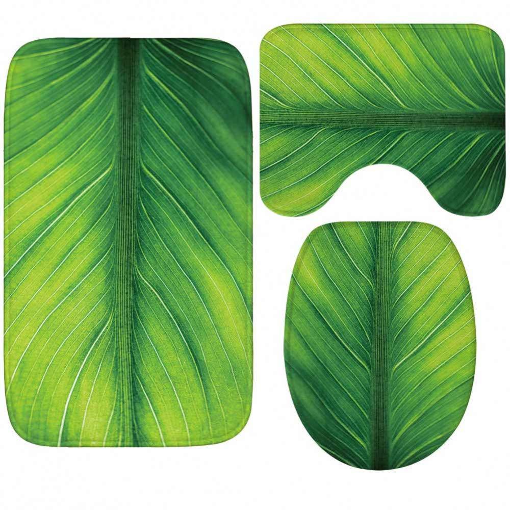 GMYANMTD Blaumen und Blätter Badematte Toilettenmatten Teppich HD Muster Anti-Rutsch-Bad Teppich WC-Abdeckung Bad Teppich Set 3 Stück B07HF9P8Q7 Duschmatten