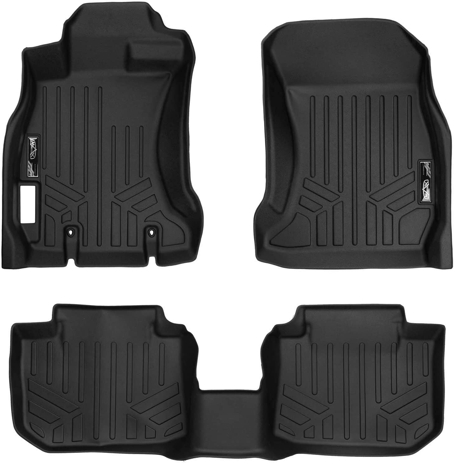 SMARTLINER Custom Fit Floor Mats 2 Row Liner Set Black for 2013-2017 Subaru Crosstrek//XV Crosstrek