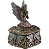 SUMMIT COLLECTION Art Nouveau Kneeling Fairy Jewelry Box with Dragonfly and Blooming Flower Decorations