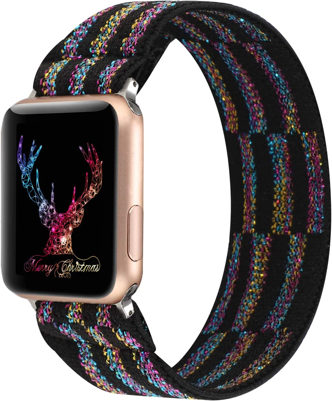PENKEY Stretchy Band Compatible with Apple Watch Elastic Band 42mm 44mm Cute Pattern Soft Nylon Strap Replacement Wristband for iWatch Series 5/4/3/2/1 (Black Color, 42mm/44mm Large Size)