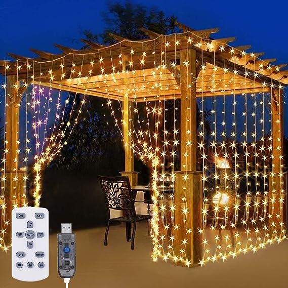 Knoijijuo Luces LED Cortina, 3x3m Rejilla de luz 300 LED, IP65 a Prueba de Agua de Baja tensión, 8 Modos de Luces de la Cortina, Interior, de Navidad, los niños: Amazon.es: Hogar
