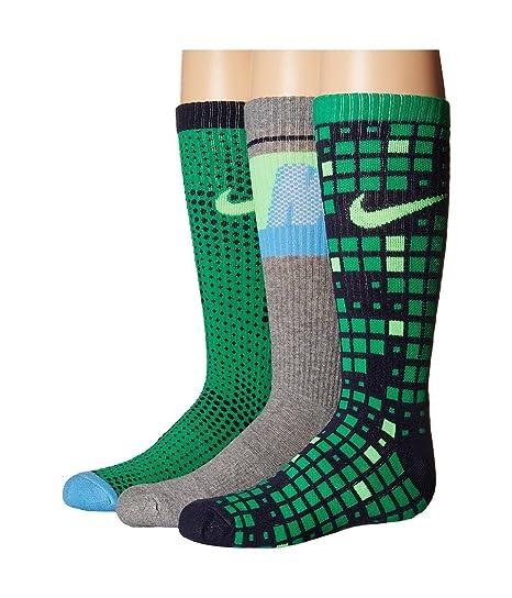 Nike Graphic Crew - Calcetines para niños (3 unidades) - Verde - MD (