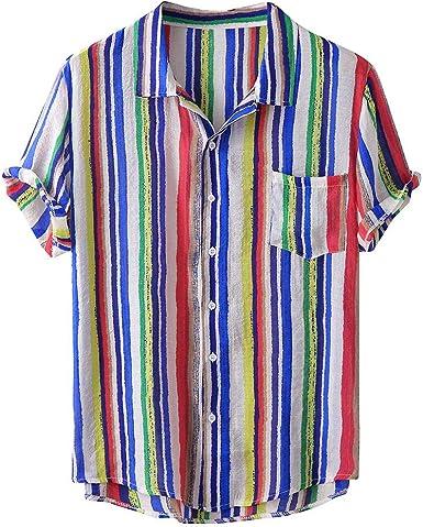 ACEBABY Camisas Hawaianas Hombre Moda Camisa de Manga Corta con Solapa, Estampado de Rayas, Camiseta Holgada Botón Informal Playa Camisas: Amazon.es: Ropa y accesorios