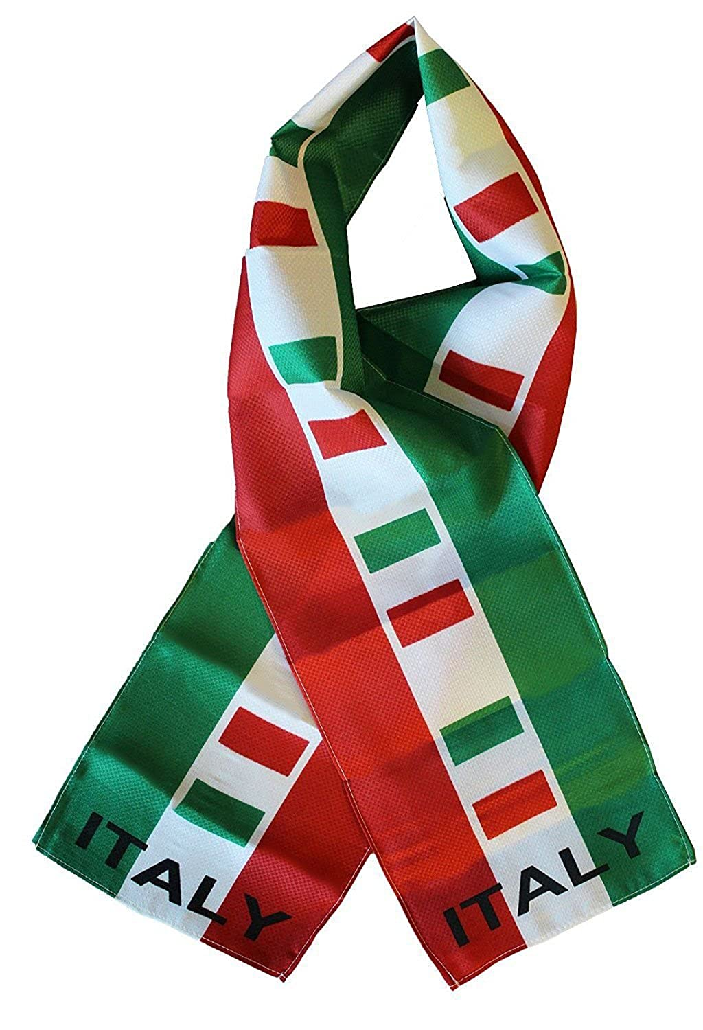 Italy Italian Country Lightweight Flag Printed Knitted Style Scarf 8x60